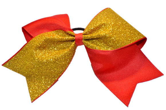 Red and Yellow Gold Sparkle Cheer Bow - Dream Lily Designs