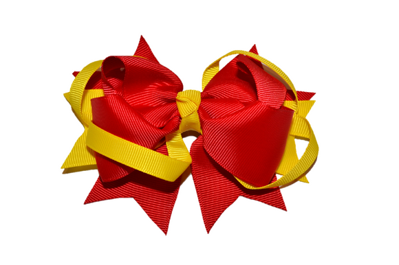 Red Gold Boutique School Spirit Hair Bow - Dream Lily Designs
