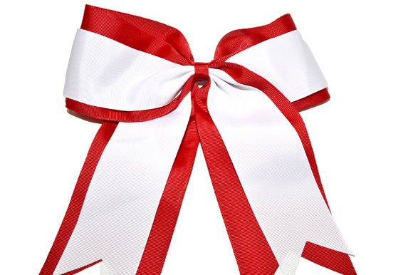 Red and White Double Ribbon Cheer Bow