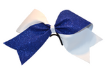 White and Blue Sparkle Cheer Bow - Dream Lily Designs