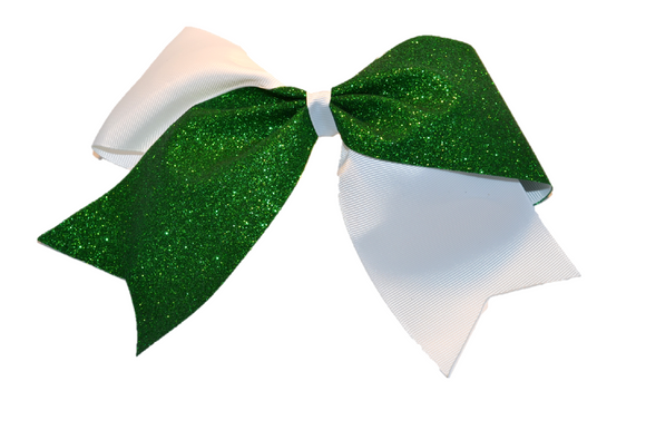 White and Green Sparkle Cheer Bow - Dream Lily Designs