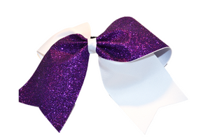 White and Purple Sparkle Cheer Bow