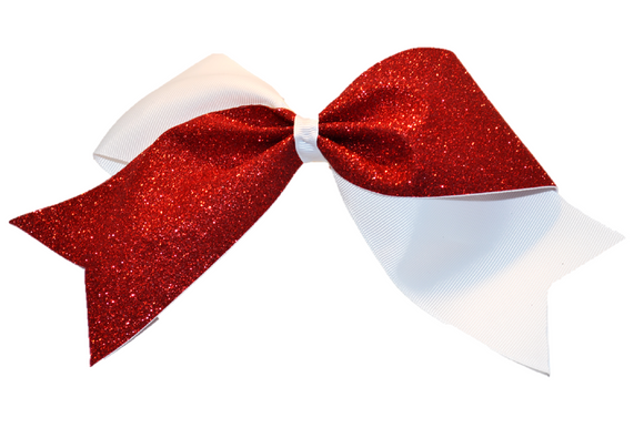 White and Red Sparkle Cheer Bow - Dream Lily Designs