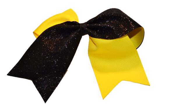Yellow and Black Sparkle Cheer Bow