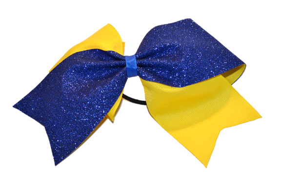 Yellow and Blue Sparkle Cheer Bow - Dream Lily Designs