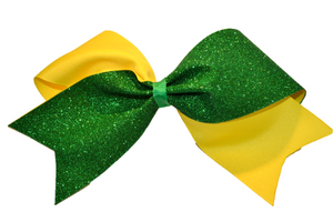 Yellow and Green Sparkle Cheer Bow