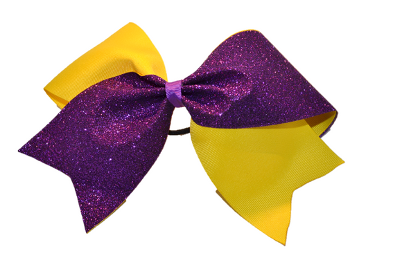 Yellow and Purple Sparkle Cheer Bow