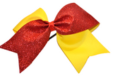 Yellow and Red Sparkle Cheer Bow - Dream Lily Designs