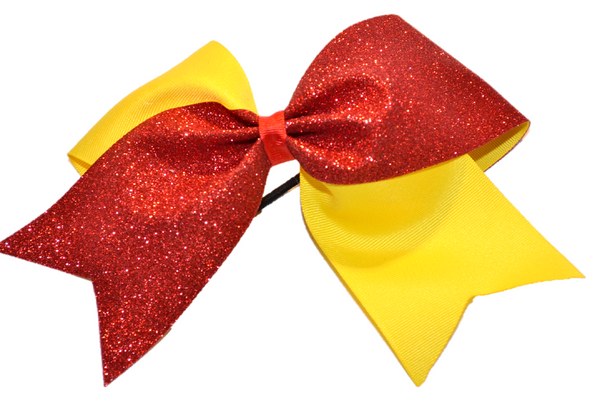 Yellow and Red Sparkle Cheer Bow
