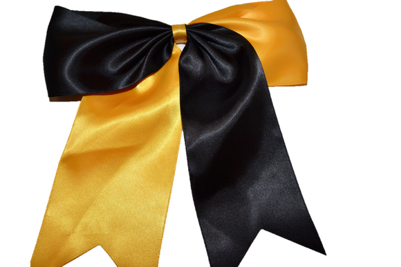 Black and Yellow Satin Cheer Bow