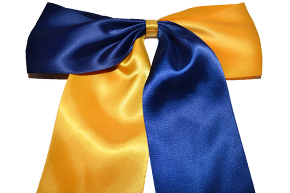 Yellow and Navy Satin Cheer Bow