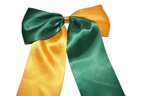 Green and Yellow Satin Cheer Bow