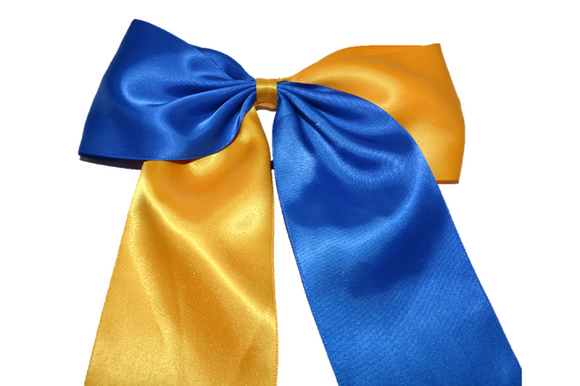Blue and Yellow Satin Cheer Bow