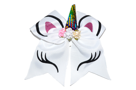 White Large Unicorn Bow - Dream Lily Designs