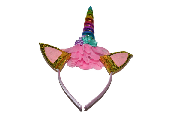 Rainbow Unicorn Headband with Ears - Dream Lily Designs