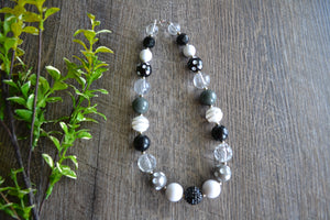 "Black Grey White ""Bubblegum Bead"" Necklace - Dream Lily Designs"