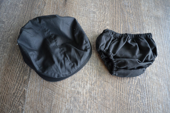 Boy Cabbie Hat, Tie and Diaper Cover Set - Black  Hat and Diaper Cover Only - Dream Lily Designs