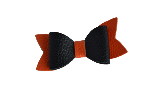 Black Orange Leather Hair Bow - Dream Lily Designs