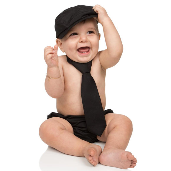 Boy Cabbie Hat, Tie and Diaper Cover Set - Black - Dream Lily Designs