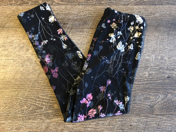 Girls Kids Ultra Soft Leggings - Legging Depot Brand - Ankle Length - School or Play - Black White Pink Floral - Dream Lily Designs