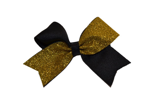 Mini Black and Yellow Gold Sparkle Cheer Bow Clip - Dream Lily Designs