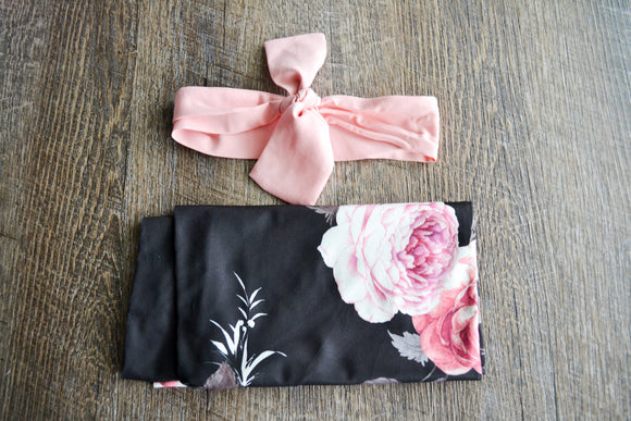 Swaddle Blanket and Headband Set - Satin Black with Pink Flowers - Dream Lily Designs