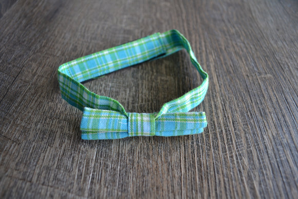 Boy Cabbie Hat, Tie and Diaper Cover Set - Blue Green Plaid Bow Tie Only - Dream Lily Designs
