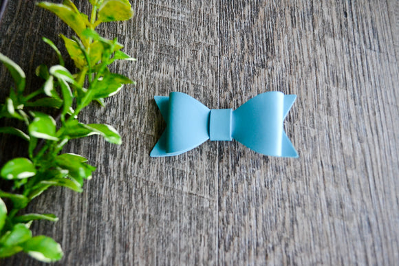 Bright Blue Leather Bow - Dream Lily Designs