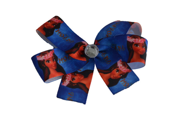 Blue Moana Princess Bow (Disney) - Dream Lily Designs