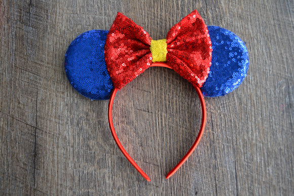 Blue Red Snow White Minnie Mouse Deluxe Headband - Dream Lily Designs