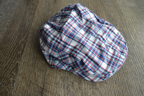 Boy Cabbie Hat, Tie and Diaper Cover Set - Blue Red White Plaid Hat Only - Dream Lily Designs