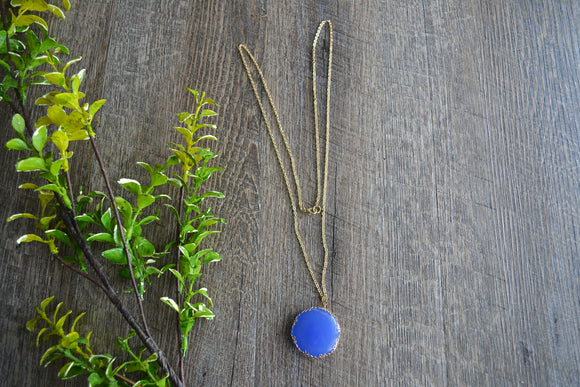 Blue Stone Pendant Gold Women's Necklace - Dream Lily Designs