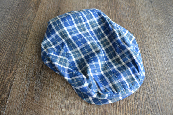 Boy Cabbie Hat, Tie and Diaper Cover Set - Blue White Plaid Hat Only - Dream Lily Designs