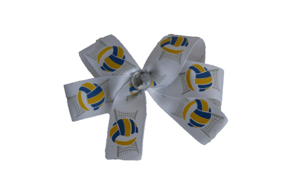 Yellow Royal Blue Volleyball Bow (Sports) - Dream Lily Designs