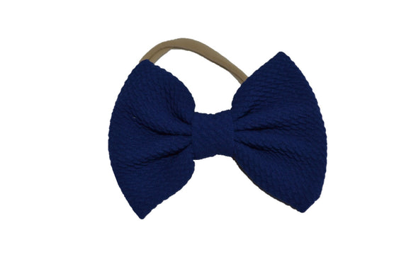 Blue Nylon Fabric Single Bowtie Baby Headband - Dream Lily Designs