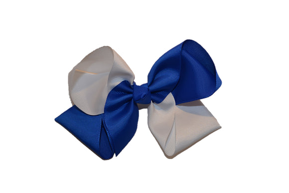 Blue White School Spirit 6 Inch Boutique Hair Bow - Dream Lily Designs