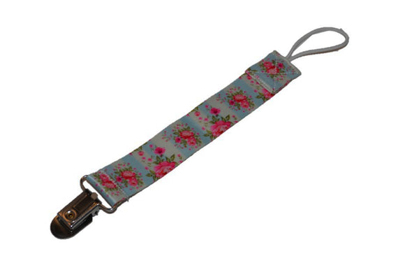 Ribbon Pacifier Clip - Blue with Pink Roses