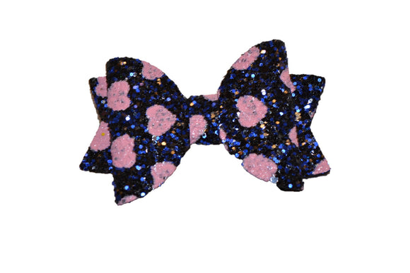 Navy Blue with Pink Hearts Glitter Leather Bow - Dream Lily Designs