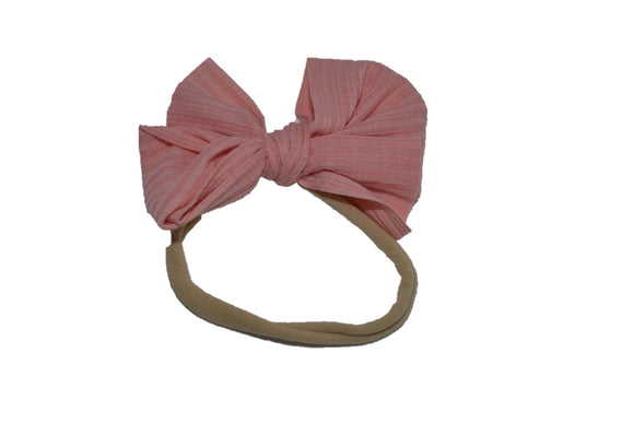 Mauve Blush Pink Nylon Ribbed Fabric Bow Knot Baby Headband - Dream Lily Designs