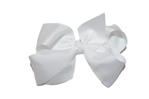 White 4 Inch Boutique Hair Bow - Dream Lily Designs