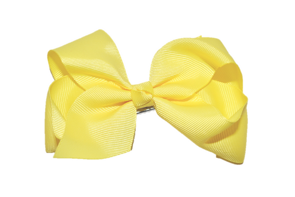 Light Yellow 4 Inch Boutique Hair Bow - Dream Lily Designs