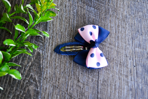 Large Snap Clip Bow - Navy Pink Polka Dots - Dream Lily Designs