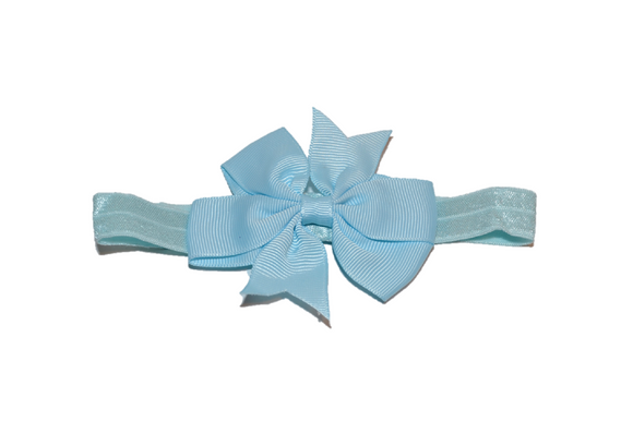 Light Blue Pinwheel Bow Headband