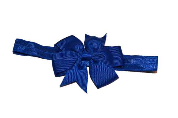 Navy Blue Pinwheel Bow Headband