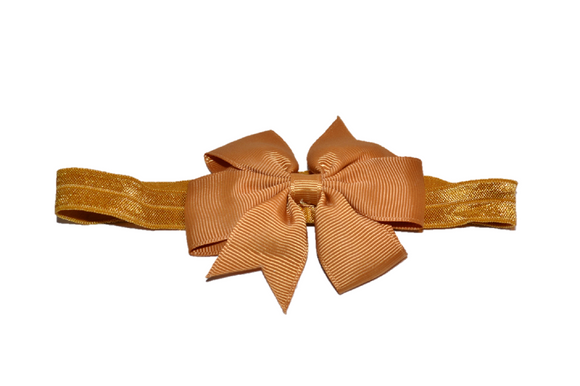 Light Brown Pinwheel Bow Headband