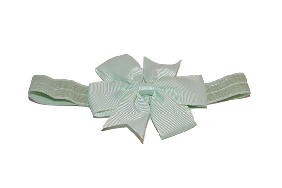 Light Mint Pinwheel Bow Headband