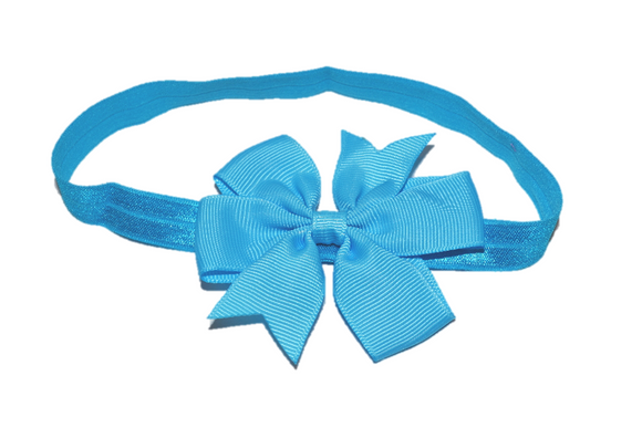 Bright Blue Pinwheel Bow Headband