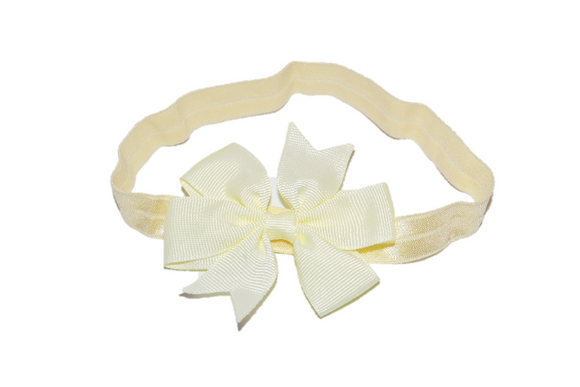 Cream Pinwheel Bow Headband