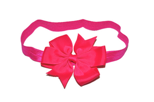 Hot Pink Pinwheel Bow Headband - Dream Lily Designs