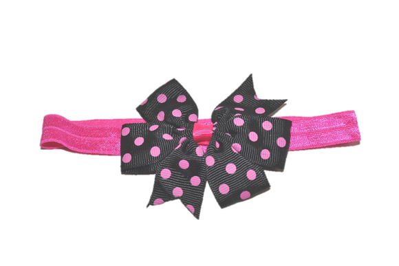 Black and Hot Pink Polka Dot Pinwheel Bow Headband